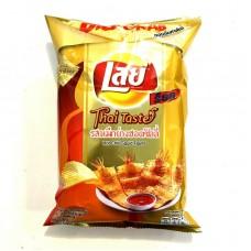 Lay Chips Hot Chilli Squid Flavor 75g มันฝรั่งอบกรอบ ตราเลย์ รสหมึกย่างฮอตชิลลี่ 75 กรัม